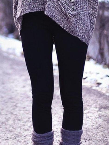 Black Knitted Casual Sheath Pants