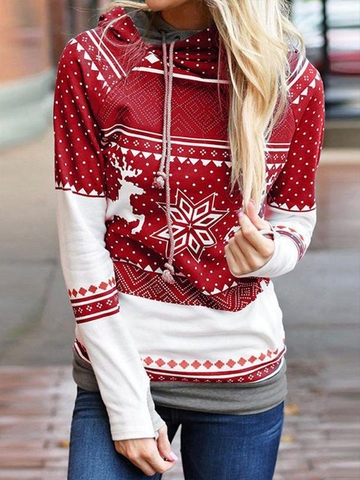 Women Christmas pattern print pullover sweater