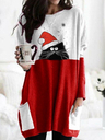 Women's Christmas Spliced Color Christmas Hat Cat Printed Long Sleeve T-shirts