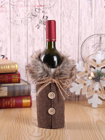 Christmas fur collar red plaid wine decoration set