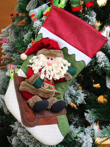 Christmas Santa Snowman Elk Christmas Stocking Gift Bag