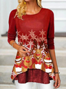 Christmas Printed Asymmetrical Hem T-Shirt