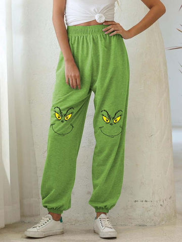 Woman's Christmas the Grinch Print Casual Pants