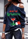 Christmas Long Sleeve One-shouldered Sweatshirt