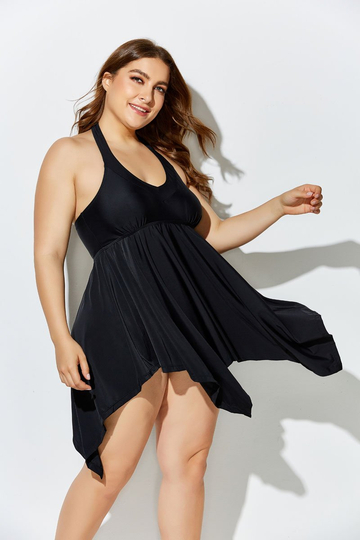 BLACK HANDKERCHIEF HALTER TWO PIECE SWIMDRESS SET