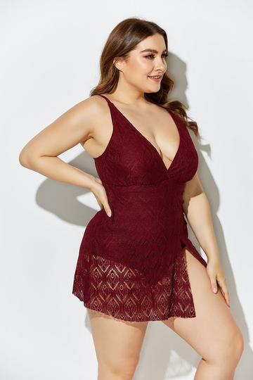 WINE CROCHET SIDE SLIT V-NECK SWIMDRESS SET