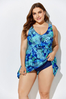 BLUE NOSTALGIA CUP SIZED TIE FRONT UNDERWIRE SWIMDRESS and Shorts