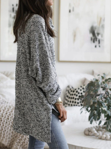 Gray Casual Plain Hoodie Sweater