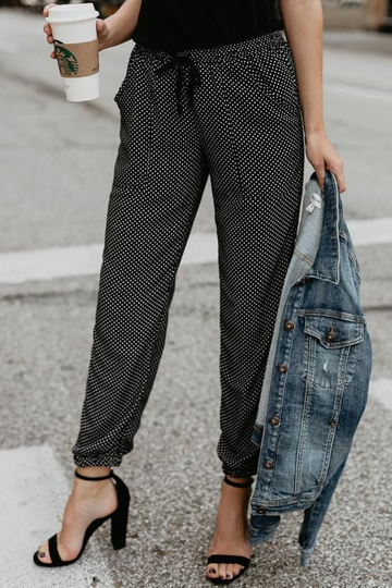 Drawstring Mid Waist Dots Black Pants