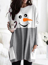 Cozy Christmas Snowman Face Long Shirt