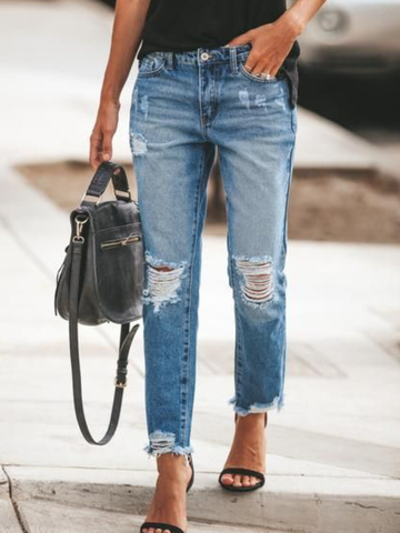 Casual Pockets Solid Jeans