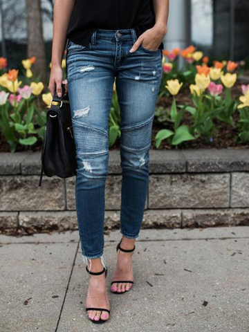 Ripped Pocket Button Skinny Jeans