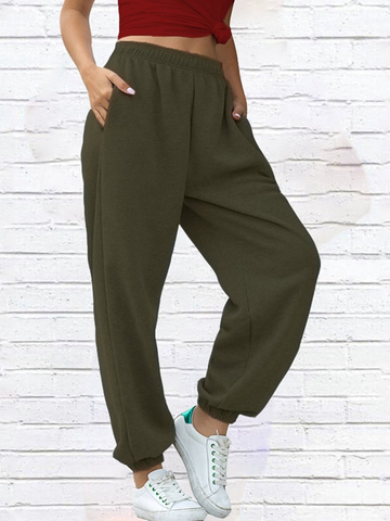 Women Home Casual Sports Solid Sweatpants
