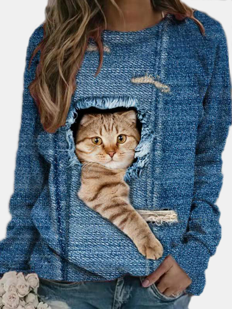 Fashion Women Sweatshirt Cute Cat Animal Landscape Print Tops Ladies Hooded Long Sleeves Pullover Comfy Casual Loose Blouses
