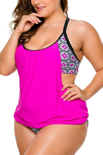 Layered-Style Cross Back Tankini with Triangular Briefs