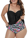 Ruffled Floral 2pcs Underwire Tankini Set