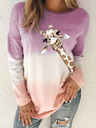 Autumn New Gradient Print Long-sleeved Loose Casual Women's Sweatshirt