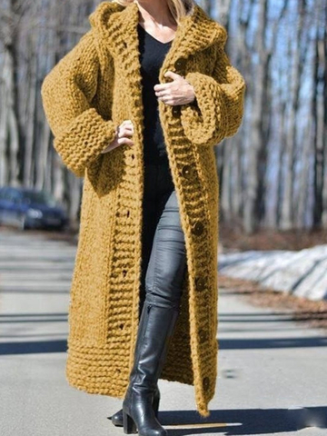 Solid Medium-length Jumper Cardigan