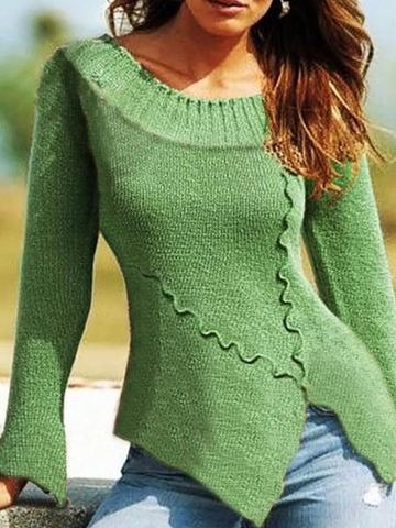 European and American large size retro casual irregular sweater