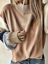 Solid Striped Sleeves Crew Neck Casual Sweater