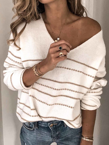 Striped Knitted Women's Fashion Warm Sweaters