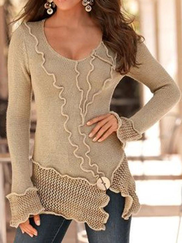 V Neck Casual Color-Block Sweater Tops