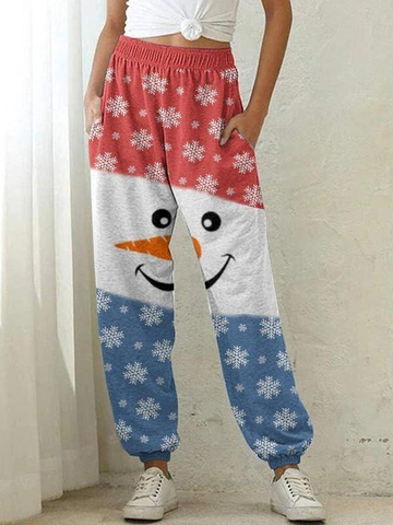 Ladies snowman printed casual pants