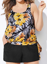 EVERLASTING FLORAL SIDE TIE BLOUSON TANKINI WITH CARGO SHORT