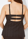BLACK FAUX FLYAWAY UNDERWIRE TANKINI TOP
