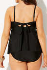 BLACK CUT OUT TIE FRONT TANKINI SET