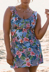 Tropical Ruffle Neck Swimdress